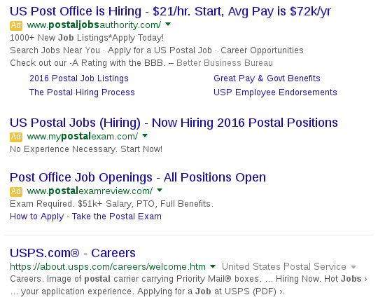 google results showing ads for post office jobs