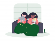 two girls watching a movie