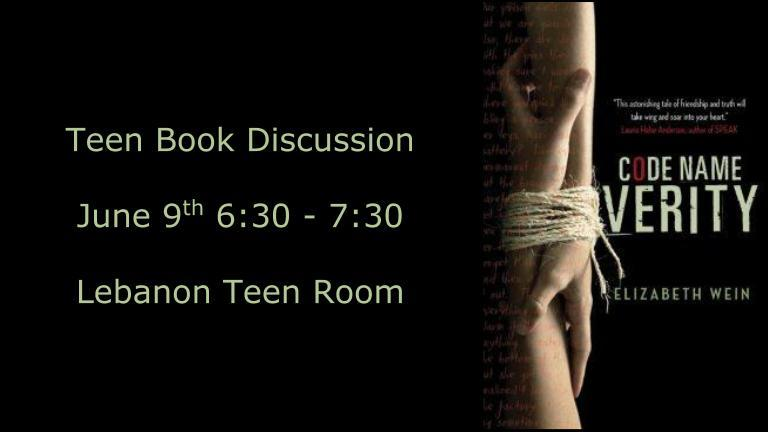 Teen Book Discussion - June 9th 6:30pm - Code Name Verity