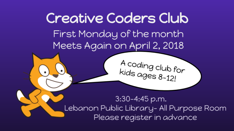 A coding club for kids ages 8-12. Meets on the first Monday of the month at the Lebanon Library. 3:30-4:45 p.m. Please register in advance.