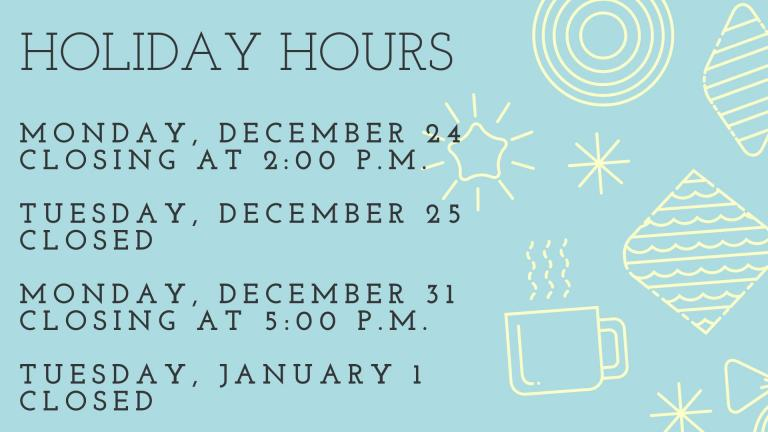 The Lebanon Public Libraries will be closed on Monday, January 16. We will reopen on Tuesday, January 17 at 10:00 a.m.
