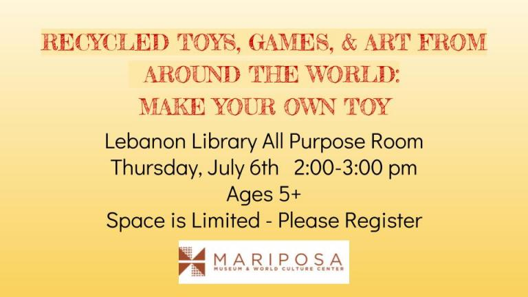 This fun and educational program will feature games from around the world. Hands on fun for the whole family. Limit of 30 participants. Registration required. Call 448-2459 to sign up. 2:00-3:00 p.m.