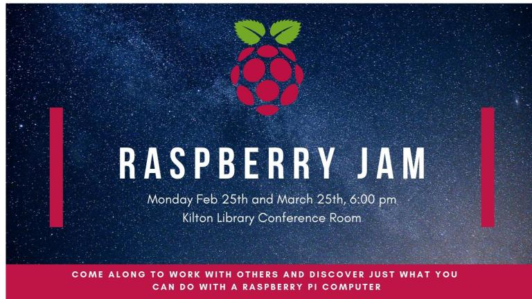 Time: Feb 25th and Mar 25th 6:00pm   Location: Kilton Conference Room  Come along to work with others to see what you can do with a Raspberry Pi computer