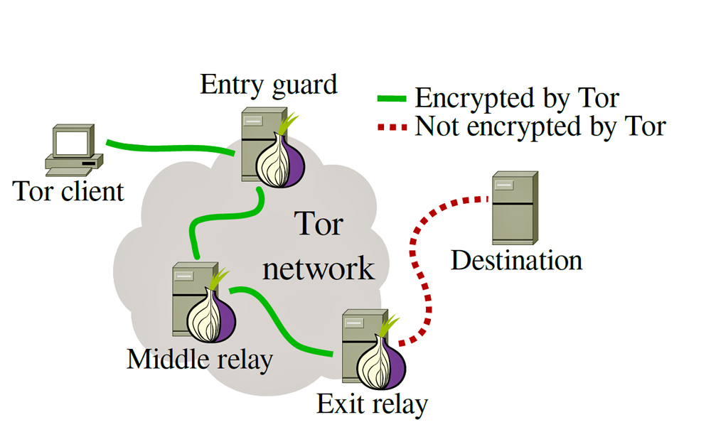 Diagram showing how the Tor network works